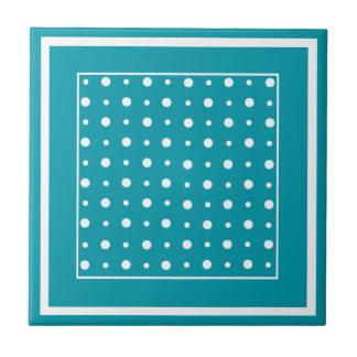 Stylish Ceramic Tile, White Polka Dots on Teal Tile