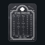 """Stylish Chalkboard Kitchen Conversion Chart Magnet<br><div class=""""desc"""">Kitchen Conversion Chart Volume Measurements - Stylish Blackboard Chalkboard Themed design for you. This practical Kitchen Tips design has common conversions you would need! Americans generally measure ingredients by volume, while about everyone else measures them by weight. Here is a quick summary of some of the basic cooking conversions, from...</div>"""