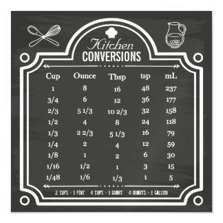 Stylish Chalkboard Kitchen Conversion Chart Magnetic Card