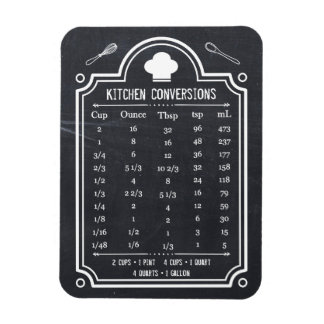 Stylish Chalkboard Kitchen Conversion Chart Rectangular Photo Magnet