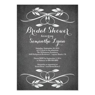 Stylish Chalkboard Leaf Flourish Bridal Shower Card