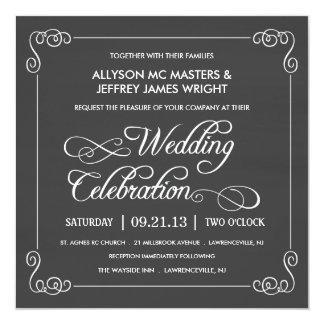 Stylish Chalkboard Wedding Invitation
