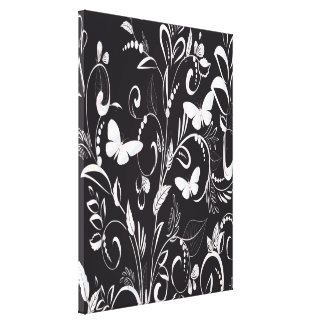Stylish Chalkboard White Butterflies and Floral Canvas Print