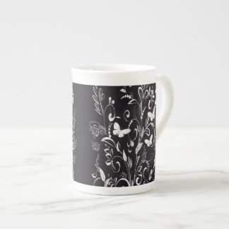 Stylish Chalkboard White Butterflies and Floral Tea Cup