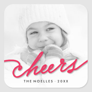 Stylish Cheers Simple Script Holiday Photo Sticker