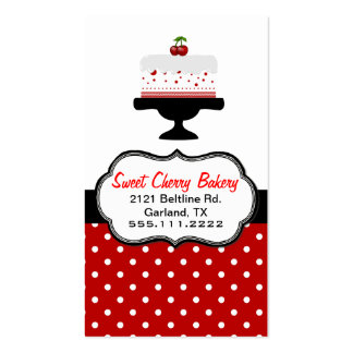 Stylish Cherry Cake Custom Bakery Business Card