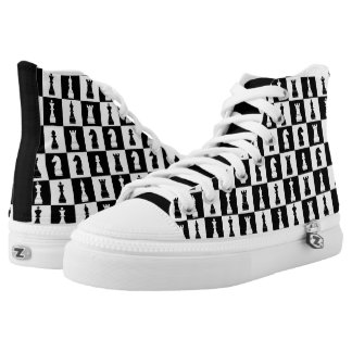 Stylish Chess Game Pattern Black and White High-Top Sneakers