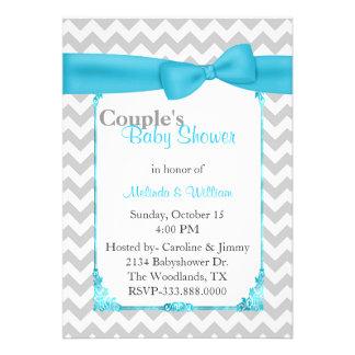 Stylish Chevron Couple s Baby Shower Invitation