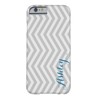 Stylish Chevron Faded Grey Monogram Barely There iPhone 6 Case