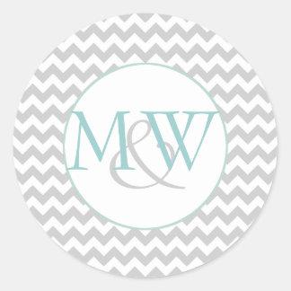 Stylish Chevron Monogram Wedding Envelope Sticker