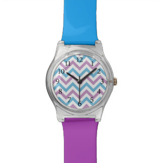 Stylish Chevron Pattern Blue and Purple Watch