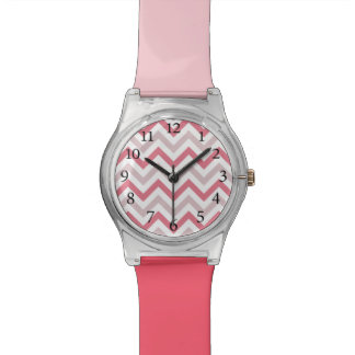 Stylish Chevron Pattern Pink and Coral Watch