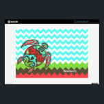 """Stylish Chevron &amp; Sea Turtle Custom Laptop Skin<br><div class=""""desc"""">Stylish laptop skin done in trendy aquamarine and white chevron zigzag pattern, with a green, brown, and coral colored zigzag stripes, on the bottom. Graphics of an Aztec inspired sea turtle done in brown, aquamarine, green, and coral orange, decorates the left side. Personalize the white text to suit your needs....</div>"""