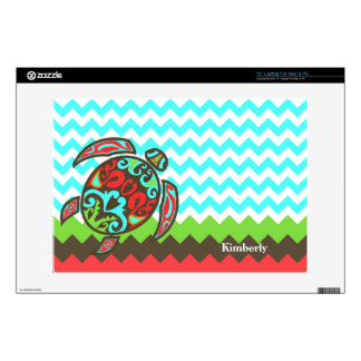 Stylish Chevron & Sea Turtle Custom Laptop Skin