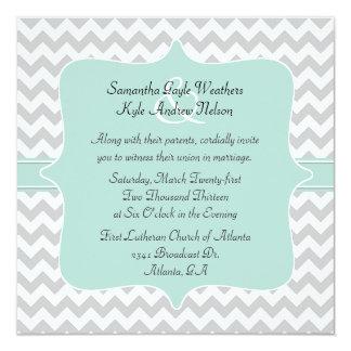 """Stylish Chevron Square Wedding Invitation 5.25"""" Square Invitation Card"""
