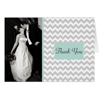 Stylish Chevron Wedding Photo Thank You Card
