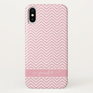 Stylish Chevron Zigzag Blush Pink Script Modern iPhone X Case