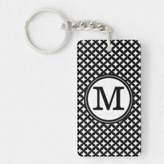 Stylish chic black and white monogram pattern Double-Sided rectangular acrylic keychain