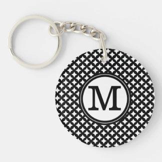 Stylish chic black and white monogram pattern Double-Sided round acrylic keychain