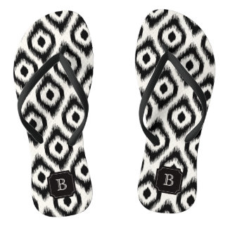 Stylish Chic Black Ivory Diamond Ikat Monogram Flip Flops