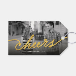 Stylish Chic Cheers Script Holiday Photo Gift Tag