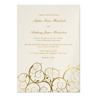 Stylish Chic Classy Golden Spirals Wedding Invite