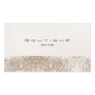 Stylish Chic Faux Sparkly Sequins and Beige Linen Business Card Template