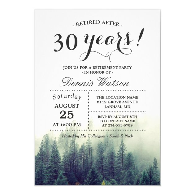 Stylish Chic Forest Pine Trees Retirement Party Card (back side)