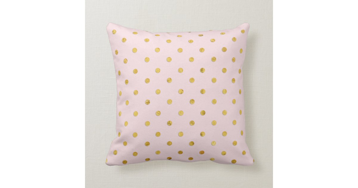Stylish Chic Girly Blush Pink & Gold Polka Dots Throw Pillow Zazzle