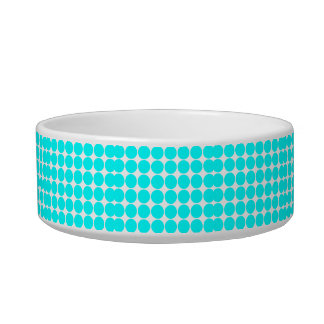 Stylish Chic Girly Cyan Polka Dots for Her Bowl