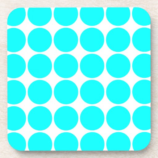 Stylish Chic Girly Cyan Polka Dots for Her Beverage Coaster
