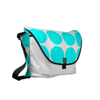 Stylish Chic Girly Cyan Polka Dots for Her Courier Bag