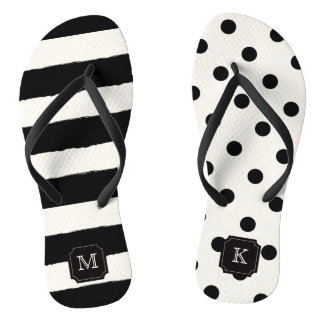 Stylish Chic Modern Black Dots & Stripes Monogram Flip Flops