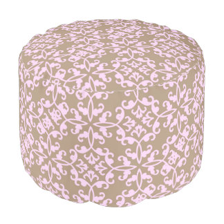 Stylish chic pink and tan pouf footstool beanbag