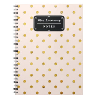 Stylish Chic Pink & Gold Polka Dots Personalized Spiral Notebook