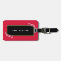 Stylish Chic Pink & Watercolor Floral Luggage Tag