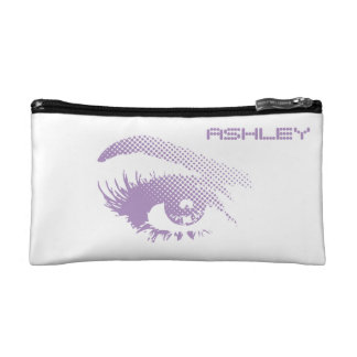 Stylish Chic Pretty Eye of Woman Halftone Violet Cosmetic Bag