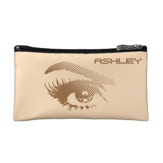 Stylish Chic Pretty Eye of Woman in Halftone Brown Cosmetic Bag