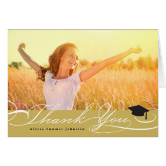 Stylish Chic Script Graduation Thank You Photo Card