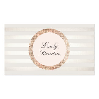 Stylish Chic Striped Rose Gold Sequin Pink Logo Double-Sided Standard Business Cards (Pack Of 100)
