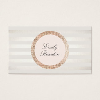Stylish Chic Striped Rose Gold Sequin Pink Logo Business Card