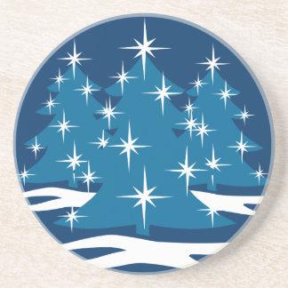 Stylish Christmas Coaster Blue Christmas Tree Gift