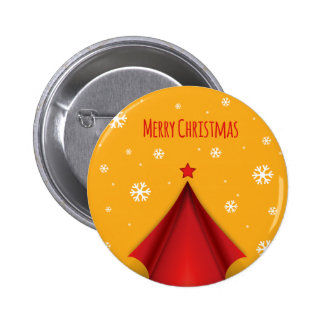 Stylish Christmas design in red and yellow Pinback Button