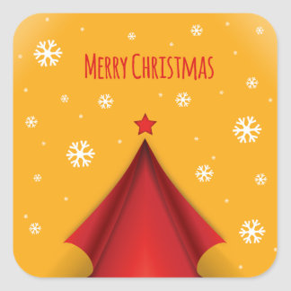 Stylish Christmas design in red and yellow Square Sticker