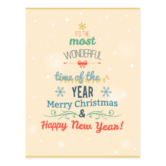 Stylish Christmas Holiday Greeting typography Postcard