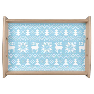 Stylish Christmas Icy Blue Pattern With Reindeers Serving Tray