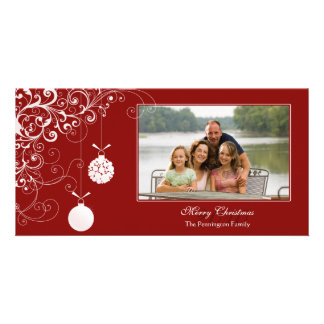 Stylish Christmas ornament swirls photocard Card