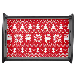 Stylish Christmas Red Pattern With Reindeers Serving Tray