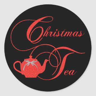 Stylish Christmas Tea Party Red Lace Classic Round Sticker