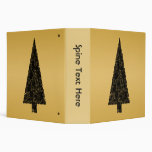 Stylish Christmas Tree. Black and Gold. Binder